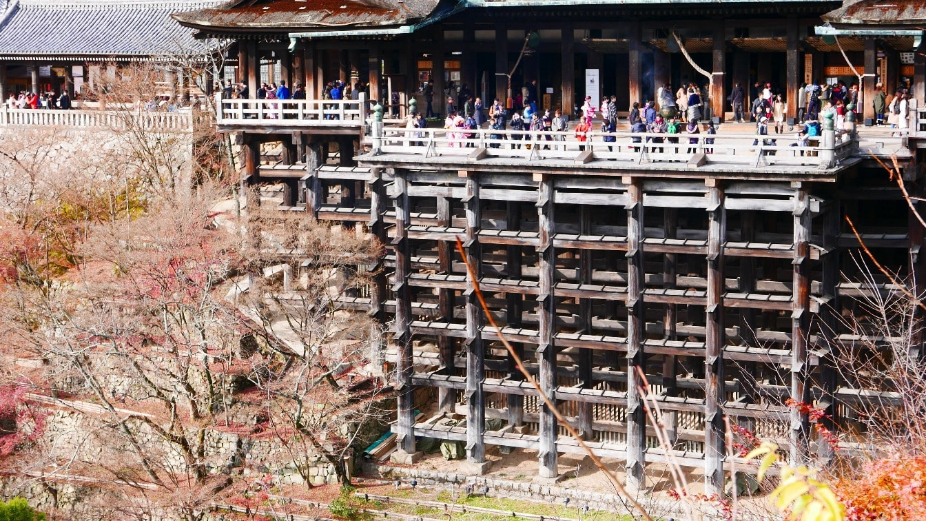 Close-up view of Kiyomizudera main stage built without nails