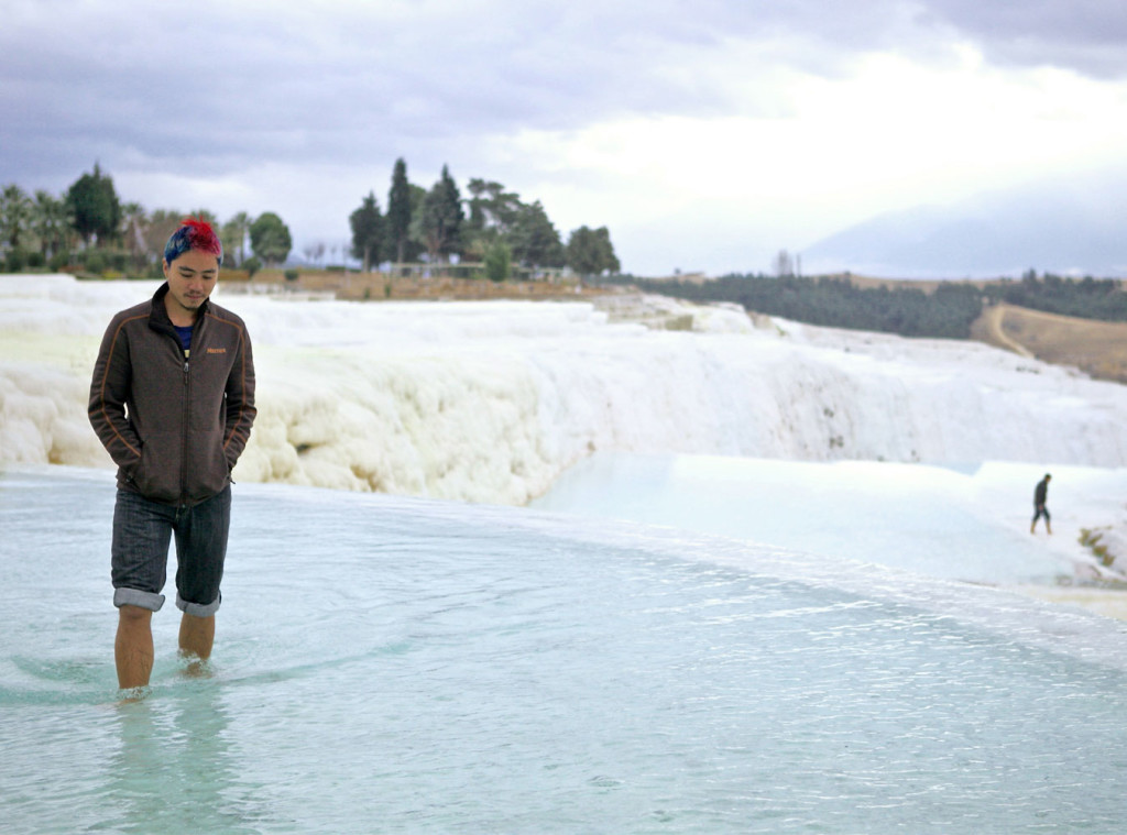 Checking out the warm pools of Pamukkale