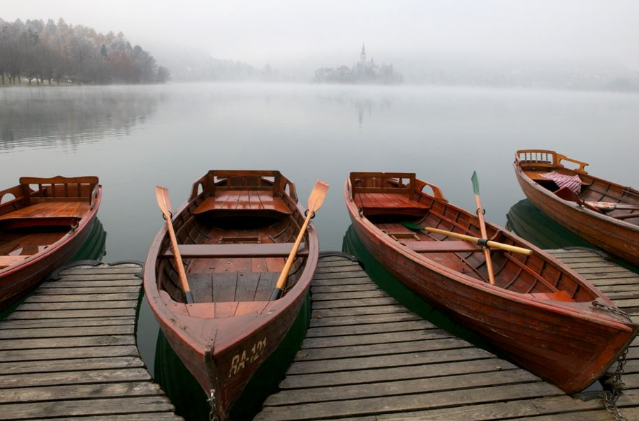 Row boats for rent on Lake Bled