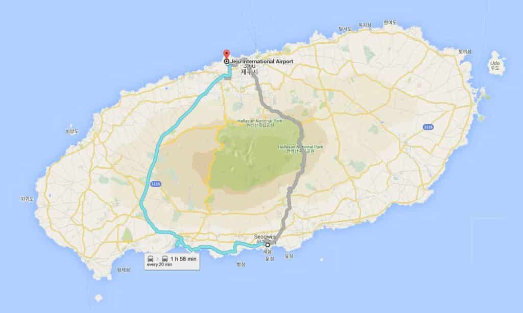Route from Jeju Airport to Ocean Palace Hotel