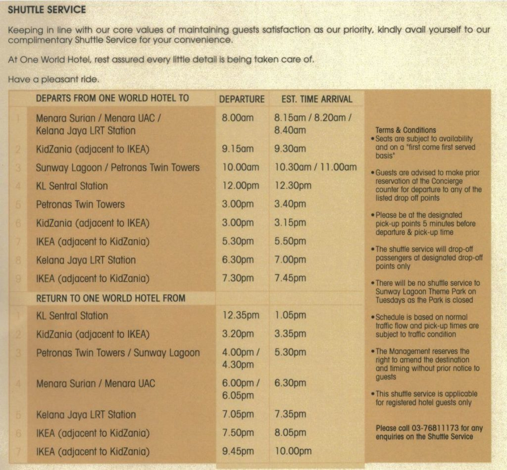One World Hotel Free Shuttle Schedule