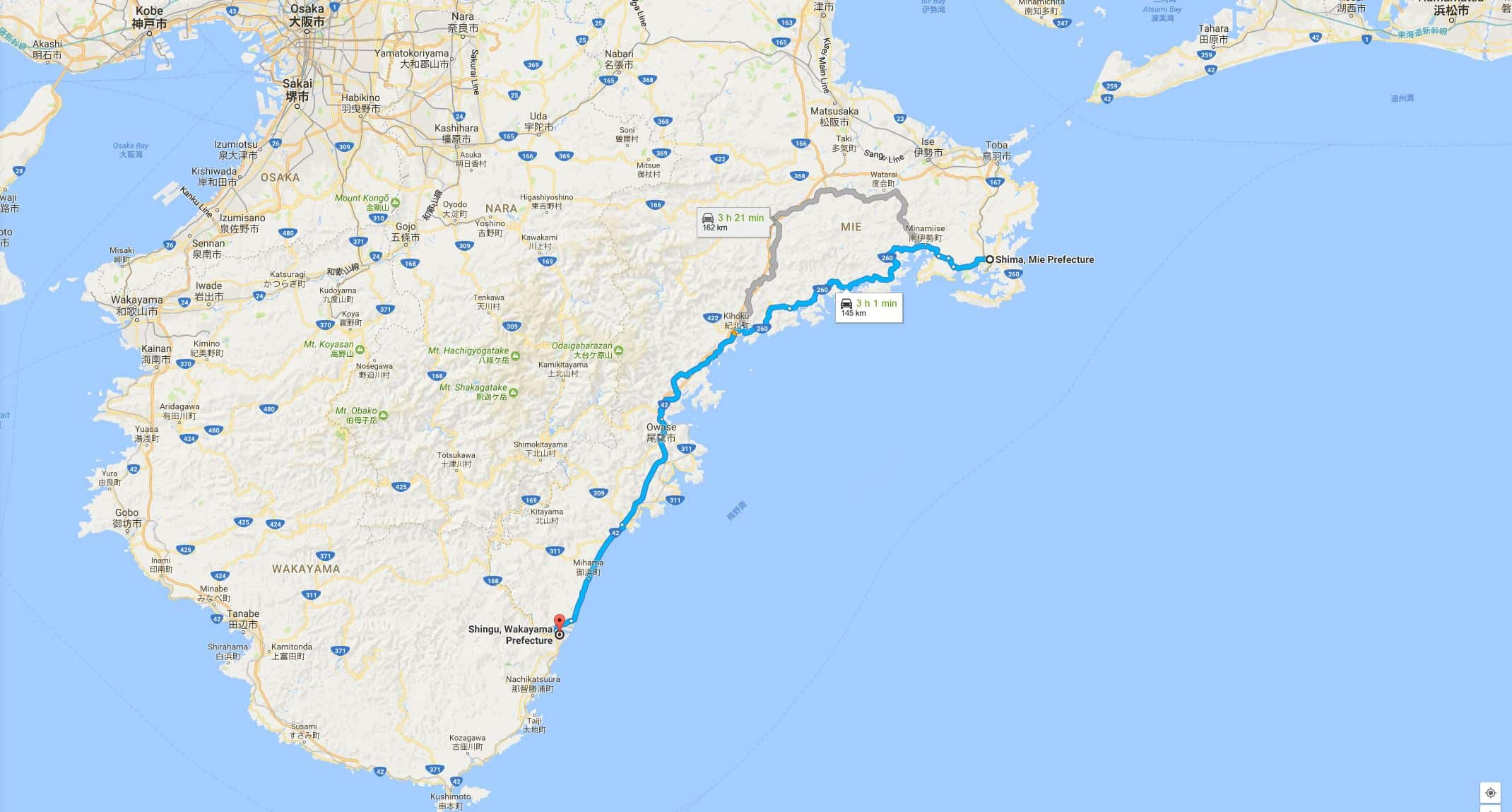 Route from Shima to Shingu