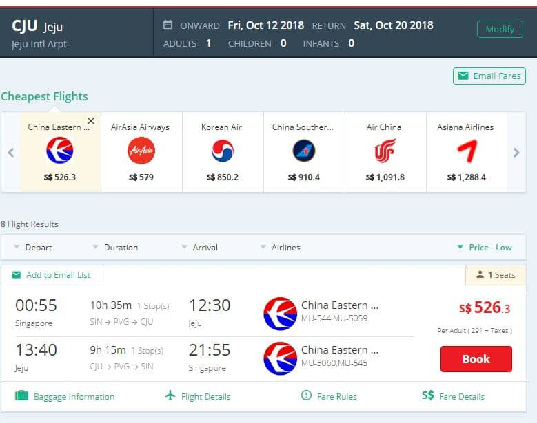 flights from singapore to jeju