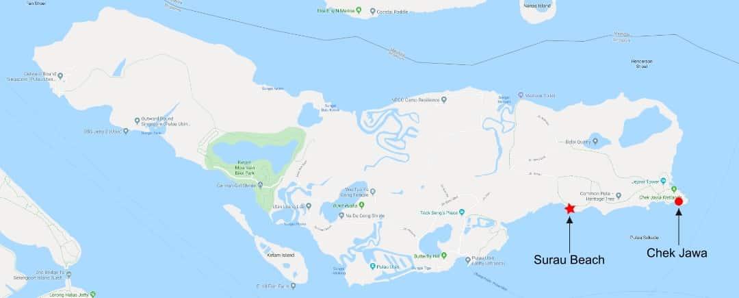 Pulau-ubin-Surau-beach-map