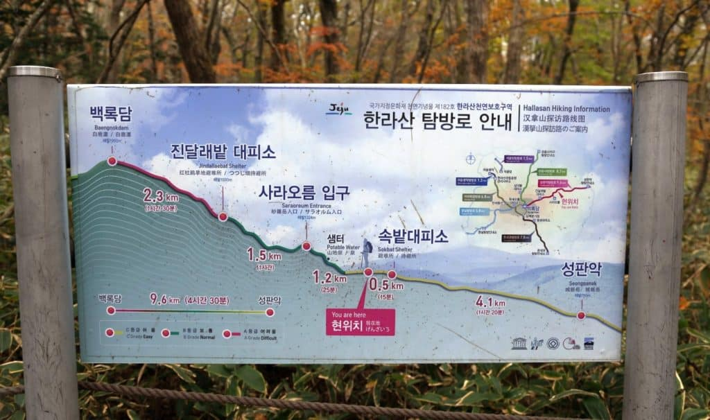 Signboards at Seongpanak trail Hallasan