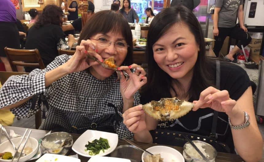Eating Korean Marinated Raw Crabs