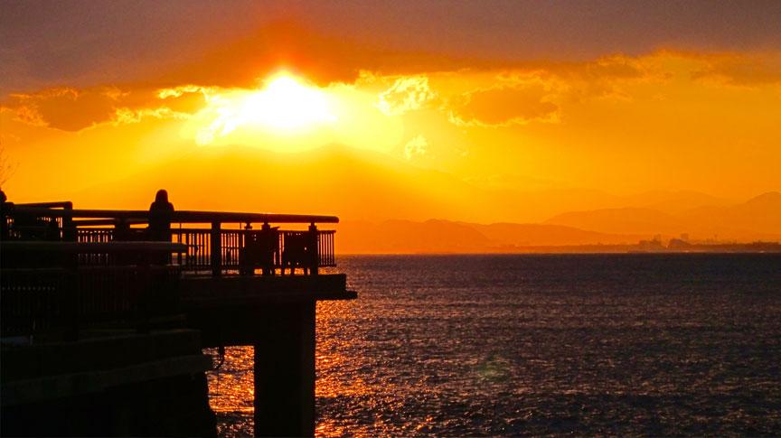 Sun setting behind Mount Fuji, from Enoshima Bridge