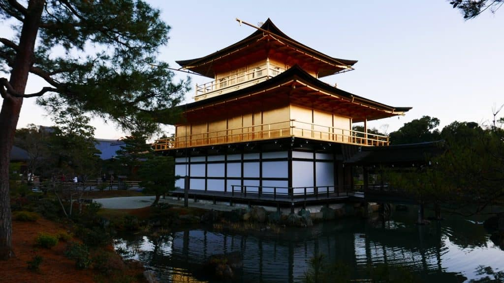 Close up view of Kinkaku-ji from the back