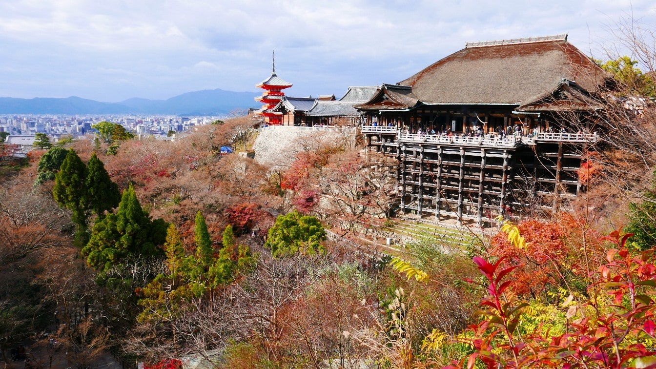 Kiyomizudera Main Hall with Kyoto in the distance