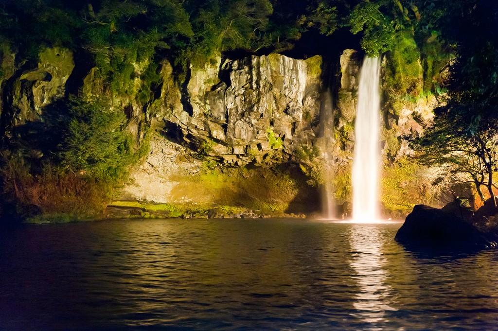 Cheonjiyeon Falls by Night