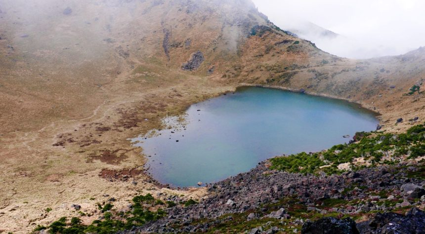View of Baengnokdam crater at the summit of Hallasan