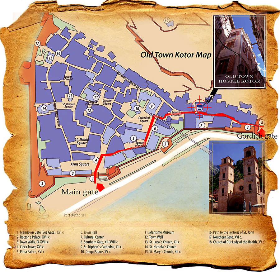 Map of Kotor Old Town