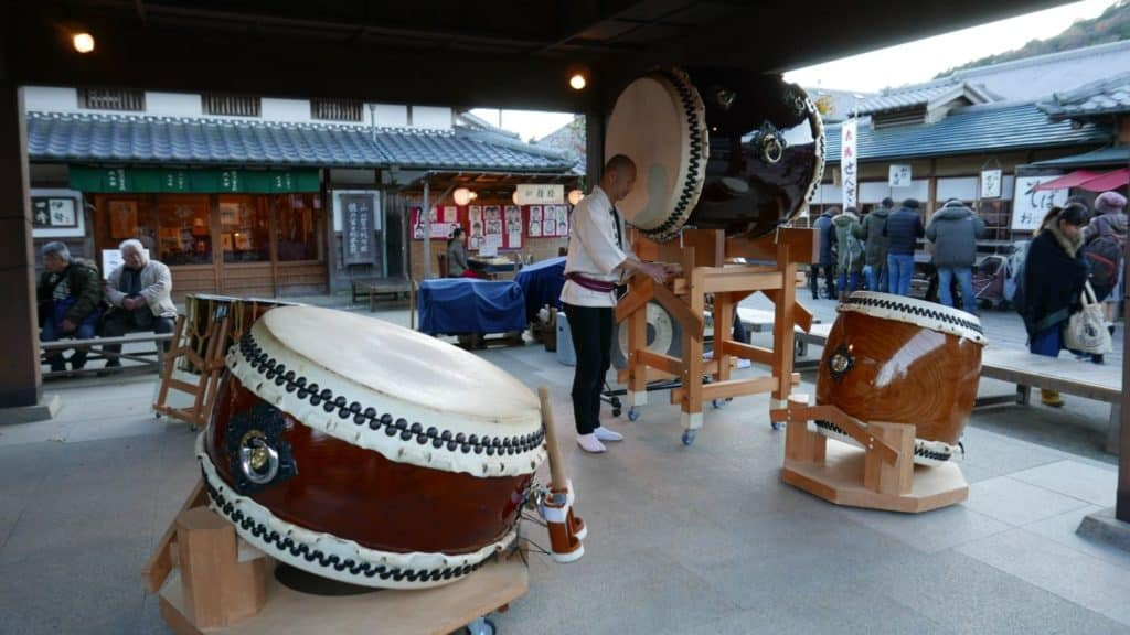 Taiko drummers getting ready for performance outside the Naiku
