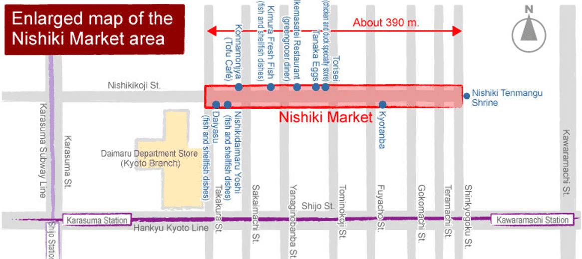 Nishiki market map