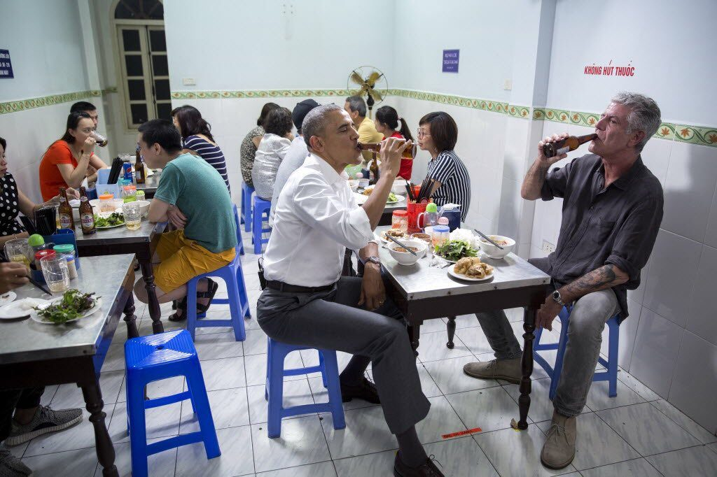 The iconic photo of Obama with the Anthony Bourdain having bun cha for lunch