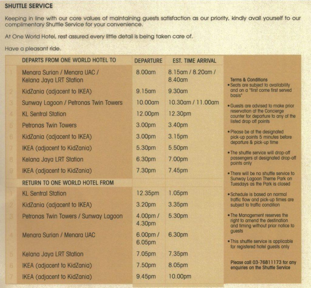 One World Hotel Free Shuttle Schedule