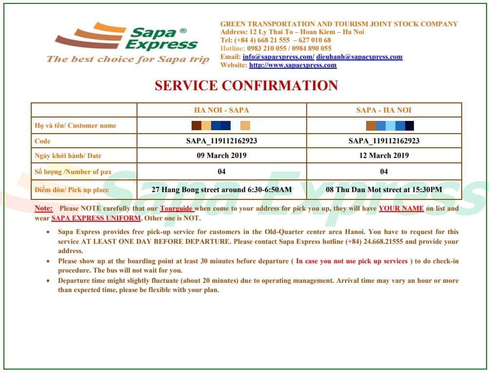 Ticket voucher from Sapa Express