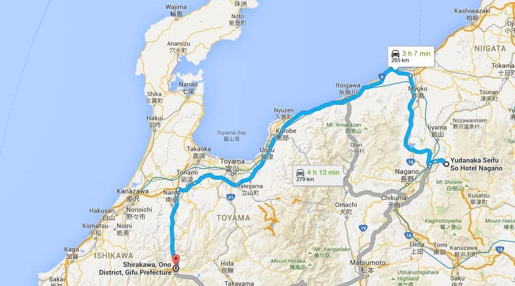Route to Shirakawa