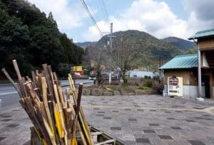 Walking sticks provided for trek up to Sentoji Temple