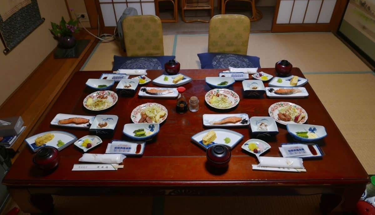 Japanese breakfast served in private rooms